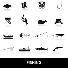 fishing icons set eps10