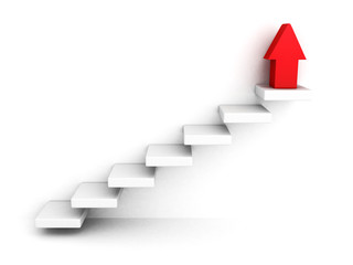 red growing up success arrow and upstairs steps ladder