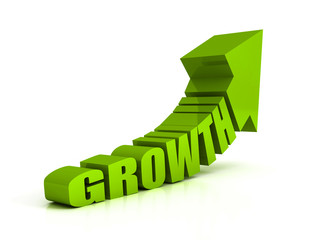 green growth text arrow on white background
