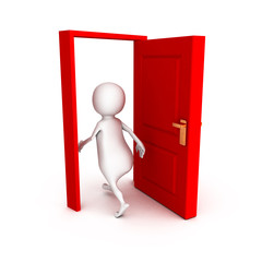 3d man make right choice walk through red door