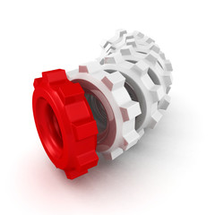 cogwheel gears group on white background