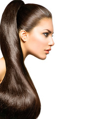 Ponytail Hairstyle. Beauty with Long Healthy Straight Brown Hair