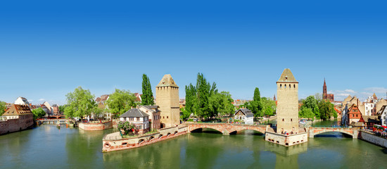 Panorama of   Strasbourg, medieval bridge Ponts Couverts. Alsace