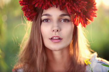 Closeup face of Ukrainian female model
