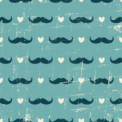 Seamless Mustache and Hearts Background