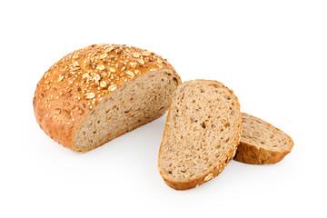 Sliced loaf of fresh homemade bread on white