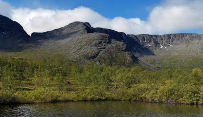 Small Vudyavr Lake and Takhtarvumchorr Range in Khibiny Mountain