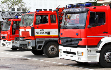 three trucks of Italian firefighters ready for every emergency i