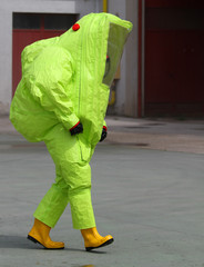man with the suit and breathing apparatus to enter contaminated