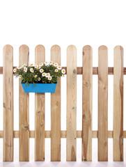Gartenzaun vor weiß