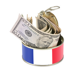 Tin can with US dollars - France flag as label