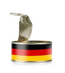 Open an empty tin can flagged Germany