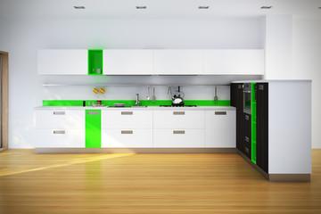 Küche mit Grünen Elementen