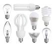 set of incandescent, halogen, compact fluorescent, LED bulb