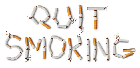 Text quit smoking made from broken cigarettes