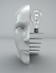 Idea pensiero mente filosofia testa lampadina