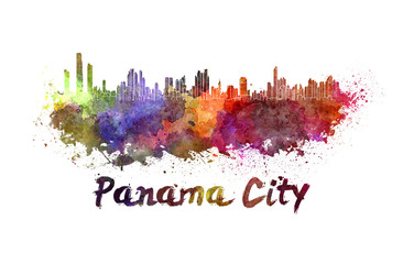 Panama City skyline in watercolor