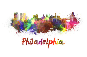 Philadelphia skyline in watercolor