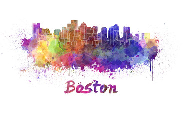Boston skyline in watercolor