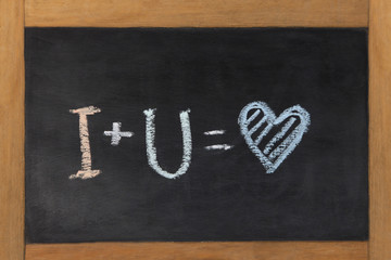 Descriptive drawing done in chalk depicting I love you
