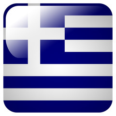 Glossy icon with flag of Greece