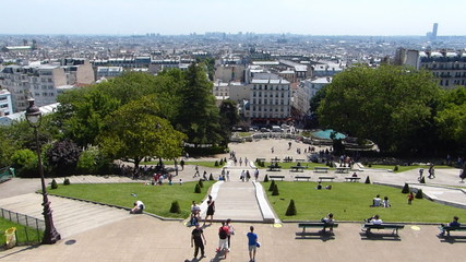 Panoramic view of Paris from Sacre Coeur at Montmartre in France