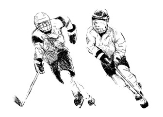 Hand drawing two hockey player. Vector illustration