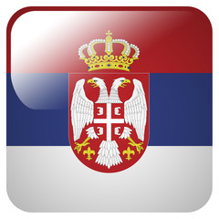 Glossy icon with flag of Serbia