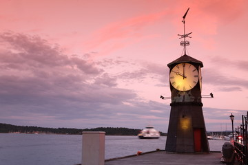 Clock tower on the pier of Oslo