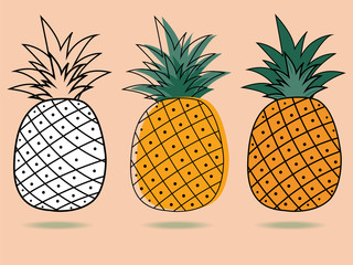 three pineapple