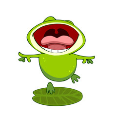 cartoon frog on a leaf with an open mouth