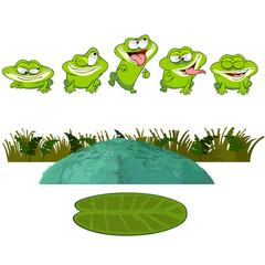 cartoon frog in the swamp, set