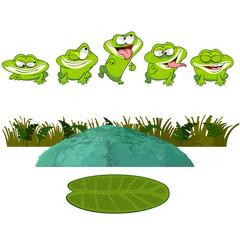 cartoon frog in the swamp, set
