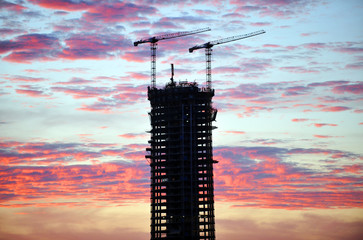 Skyscrapers under construction Seville on, Andalusia, Spain