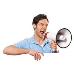 Mann mit Megaphon und Schild