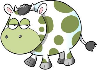 Sad Cow Vector Illustration Art