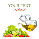 Healthy vegetable salad with olive oil dressing over white poster