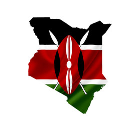 Map of Kenya with waving flag isolated on white