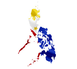 Map of Philippines with waving flag isolated on white