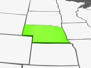 Three-dimensional map of Nebraska. USA.