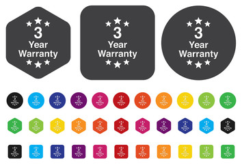 3 year warranty button