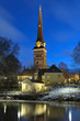 View of the Vasteras Cathedral in winter morning, Sweden