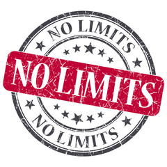No limits red round grungy stamp isolated on white background