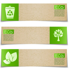 Eco banners with green signs on white background