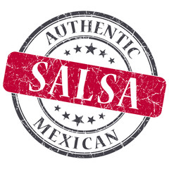 Salsa red round grungy stamp isolated on white background