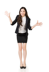 Excited Asian business woman