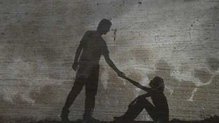 Silhouette Against Stone Helping Hand