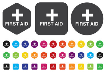 First aid medical button sign isolated on white.