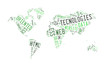 Web Technology word with world map shape