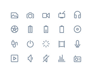 Multimedia icons. Line series
